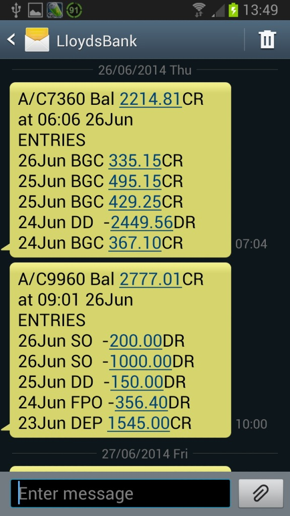 Keywords in the LloydsBank SPAM SMS Text Message
